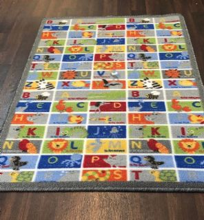 NEW ANIMAL ABC LEARNING SCHOOL HOME MAT RUG 80X120CM MULTICOLOUR NON SLIP